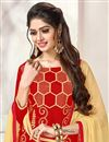 photo of Embroidered Cotton Straight Cut Churidar Dress In Red