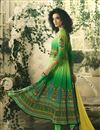 photo of Pure Crepe Digital Print Green Anarkali Readymade Dress With Work