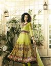 image of Digital Print Embellished Readymade Anarkali Dress In Pure Crepe
