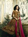 image of Digital Print Readymade Anarkali Salwar Suit In Pure Crepe With Work