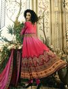 photo of Pure Crepe Crimson Digital Print Readymade Anarkali Salwar Kameez