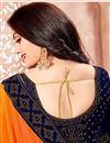 photo of Crepe Designer Orange Saree With Fancy Lace