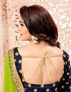 photo of Crepe Designer Green Saree With Fancy Lace
