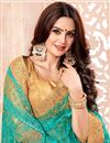 photo of Net Designer Saree In Cyan With Fancy Lace Border