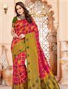 image of Art Silk Designer Function Wear Crimson Color Fancy Saree