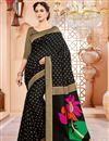 image of Black Wedding Function Wear Art Silk Saree