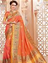 image of Traditional Salmon Color Function Wear Saree In Art Silk