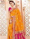 image of Traditional Party Wear Mustard Saree In Art Silk