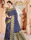 image of Navy Blue Art Silk Wedding Function Wear Saree