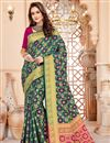 image of Art Silk Traditional Function Wear Saree In Teal