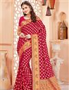 image of Function Wear Crimson Color Designer Art Silk Fancy Saree