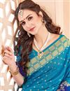 photo of Sky Blue Wedding Function Wear Saree In Art Silk