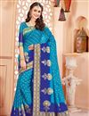 image of Sky Blue Wedding Function Wear Saree In Art Silk