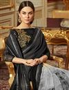 photo of Black Traditional Georgette Fancy Function Wear Saree