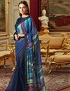 image of Navy Blue Traditional Georgette Fancy Function Wear Saree