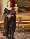 image of Traditional Wedding Function Wear Dark Brown Georgette Saree