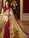 image of Traditional Maroon Satin Designer Fancy Saree