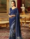 image of Navy Blue Designer Wedding Wear Georgette Traditional Saree