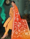 image of Straight Cut Chanderi Silk Fancy Churidar Suit In Orange With Heavy Dupatta