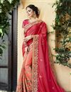 image of Fancy Wedding Wear Satin Red Designer Embellished Saree