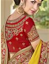 photo of Mustard Designer Embroidered Satin Fancy Function Wear Saree