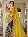 image of Best Selling Mustard Designer Embroidered Satin Fancy Function Wear Saree