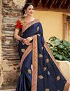 image of Wedding Special Embroidered Satin Navy Blue Function Wear Saree