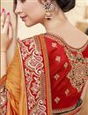 photo of Satin Wedding Wear Fancy Embellished Saree In Orange