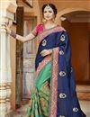 image of Designer Function Wear Fancy Embroidered Saree In Satin