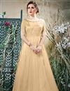 image of Fancy Embroidered Designer Net Fabric Beige Readymade Gown