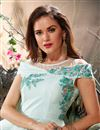 photo of Embellished Net Fabric Light Cyan Designer Fancy Readymade Gown
