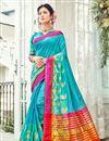 image of Embellished Cotton Silk Cyan Designer Saree