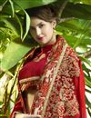 photo of Function Wear Designer Saree In Red With Embroidery Work
