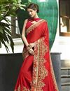 image of Function Wear Designer Saree In Red With Embroidery Work