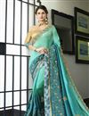 image of Embellished Function Wear Saree In Sea Green