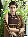 photo of Embroidery Work Sangeet Wear Traditional Saree In Brown