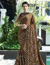 image of Embroidery Work Sangeet Wear Traditional Saree In Brown