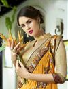 photo of Embroidery Work Traditional Fancy Saree In Yellow
