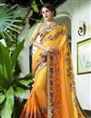 image of Embroidery Work Traditional Fancy Saree In Yellow
