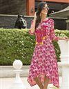 image of Dark Pink Rayon Printed Daily Wear Fancy Kurti
