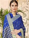 photo of Cotton Silk Blue Traditional Casual Function Wear Saree