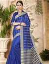 image of Cotton Silk Blue Traditional Casual Function Wear Saree