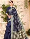 image of Navy Blue Cotton Silk Casual Function Wear Saree