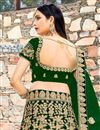 photo of Velvet Designer Bridal Lehenga In Dark Green With Embroidery