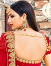 photo of Red Velvet Reception Wear Lehenga With Embroidery