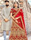 image of Red Velvet Reception Wear Lehenga With Embroidery