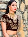 photo of Velvet Designer Bridal Lehenga In Maroon Color With Embroidery