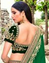 photo of Dark Green Embroidered Bridal Lehenga Choli In Velvet Fabric
