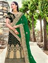 image of Velvet Designer Bridal Lehenga In Dark Green With Embroidery