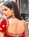 photo of Red Velvet Sangeet Wear 3 Piece Embroidered Lehenga Choli